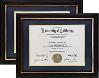 ONURI - Luxurious Document Frame - Classic Picture Frame for Diploma Documents and Certificates - 2 Packs (11x14, Navy & Gold)