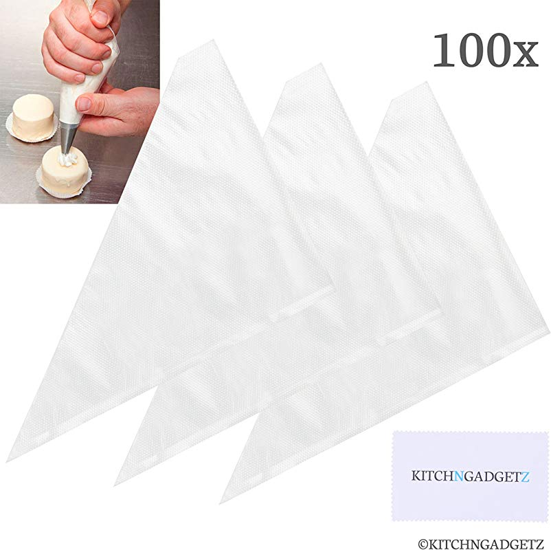 Pastry Decorating Bags 100 Pieces Bulk Large Capacity 16 Inch For Fine Decoration Of Homemade DIY Cakes And Cookies Extra Space For More Frosting Icing Disposable