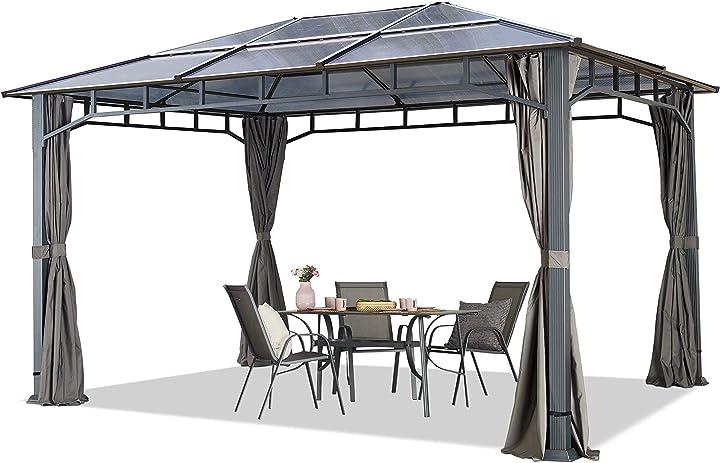 Gazebo giardino 3x4 m telaio in alluminio tetto in policarbonato da ca. 8mm 9849928XQ126283330G5