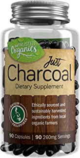 Activated Charcoal Capsules by Trusted Organics - for Gut Health, Detox, Teeth Whitening, Facial Masks, and Hangovers - Formed from Organic Coconut Shells - Money Back Guarantee! - 90 Count