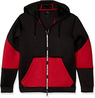 Men's Zip Up Hoodie with Logo Zipper and Colorblock Mid...