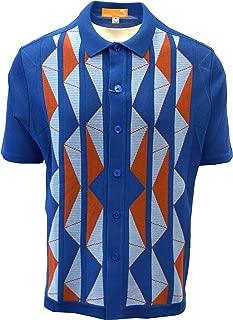 Edition-S Men's Short Sleeve Knit Shirt- California Rockabilly Style Aztec Triangle Design