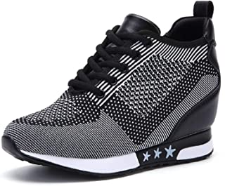 TQGOLD Women's Platform Sneakers Wedges High Top Lace Up Shoes Increase Fashion Sneakers for Women Girls
