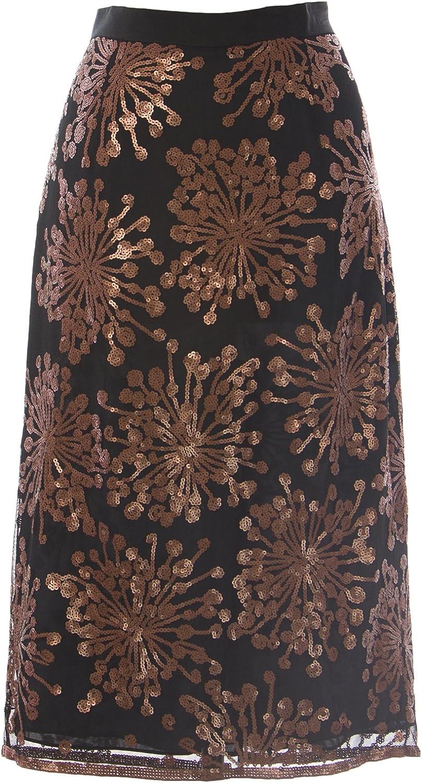 BODEN Women's Sequin Party Pencil Skirt Black Copper