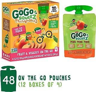 GoGo squeeZ Fruit & VeggieZ on the Go, Apple Peach Sweet Potato, 3.2 Ounce (Pack of 48), Gluten Free, Vegan Friendly, Healthy Snacks, Unsweetened, Recloseable, BPA Free Pouches