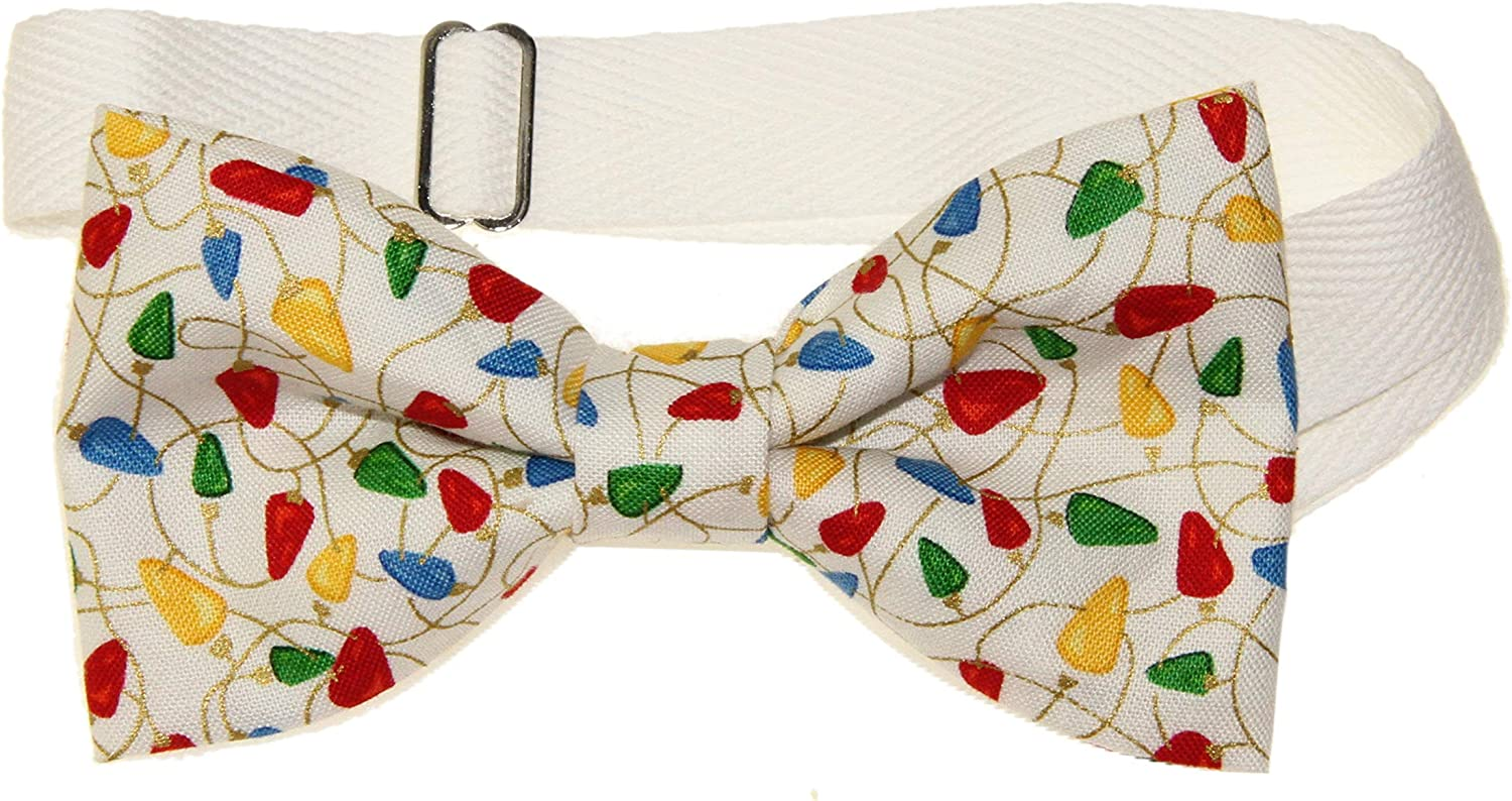 Men's Colorful Holiday Lights Pre-Tied Adjustable Cotton Bow Tie