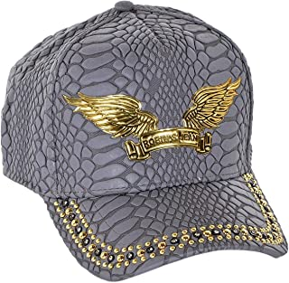Curve Bill Snap Back Hat With Black Dimond SW and Gold Signature Wings One Size Charcoal