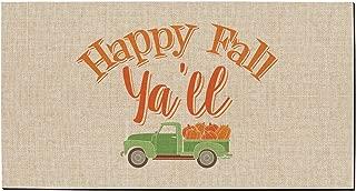 ThisWear Fall Decorations Happy Fall Y'all Country Pumpkin Truck Doormat Fall Seasonal Decor Doormat Multi