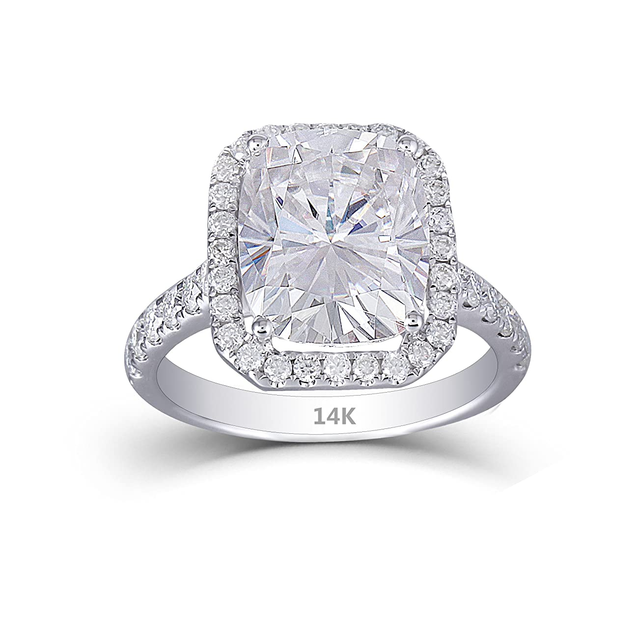 DOVEGGS Solid 14K White Gold Center 5ct 9X11mm H Color Cushion Cut Moissanite Halo Engagement Ring