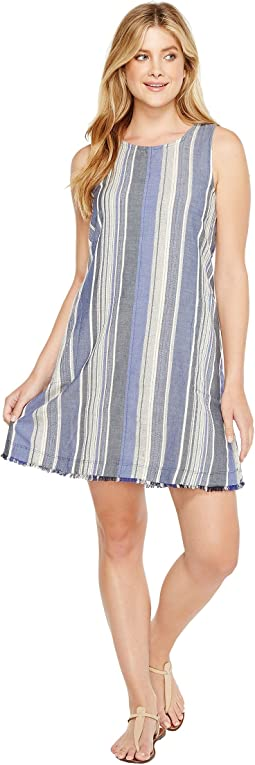 Nautical Indigo Stripes Fringe A-Line Dress