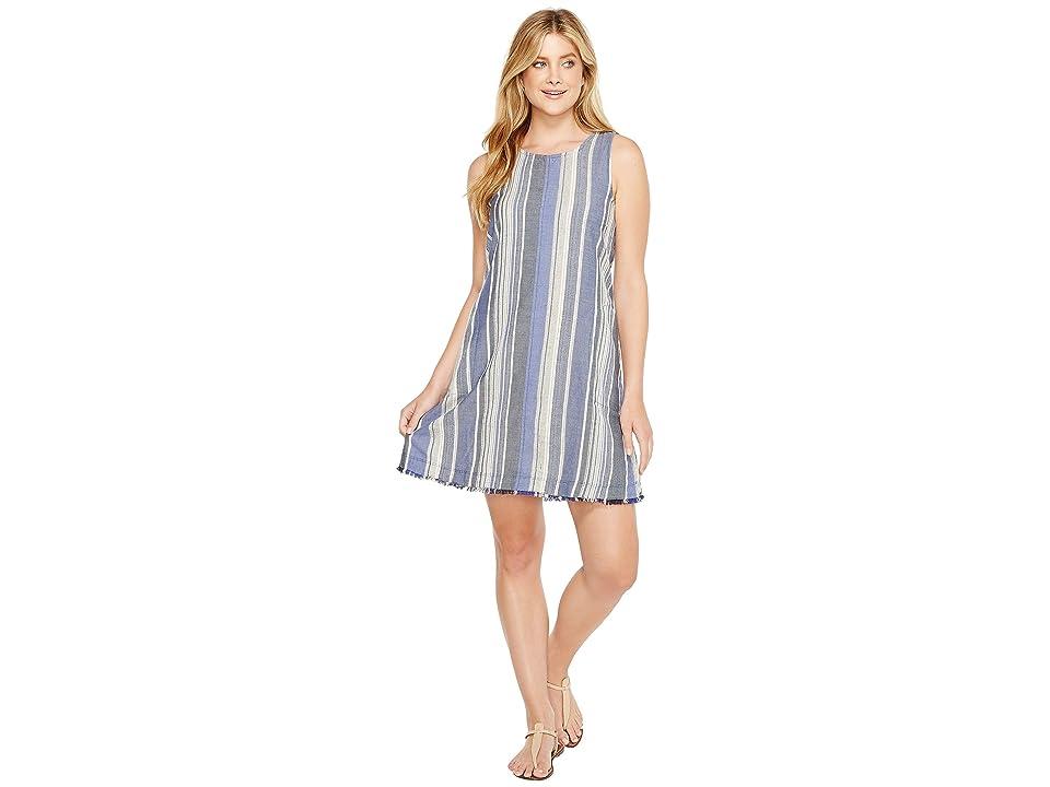 Dylan by True Grit Nautical Indigo Stripes Fringe A-Line Dress (Indigo) Women