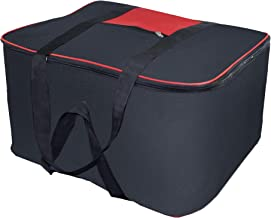 Storite Nylon Big Underbed Storage Bag Moisture Proof Cloth Organiser with Zippered Closure and Handle(BlackRed, 54x46x28cm)