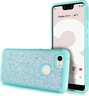Glitter Hard Case for Google Pixel 3, Glitter Bling Hard Cover with Dual-Layer [Hard PC Back Exterior + Soft TPU Interior] for Girls (Teal)