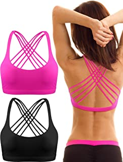 2 Pack Womens Padded Sports Bra Cross Back Bra Workout Strappy Bra Seamless Comfortable Yoga Bra