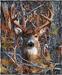 "Dawhud Direct Camo Buck Deer Super Soft Full/Queen Size Plush Fleece Blanket, 75"" x 90"""