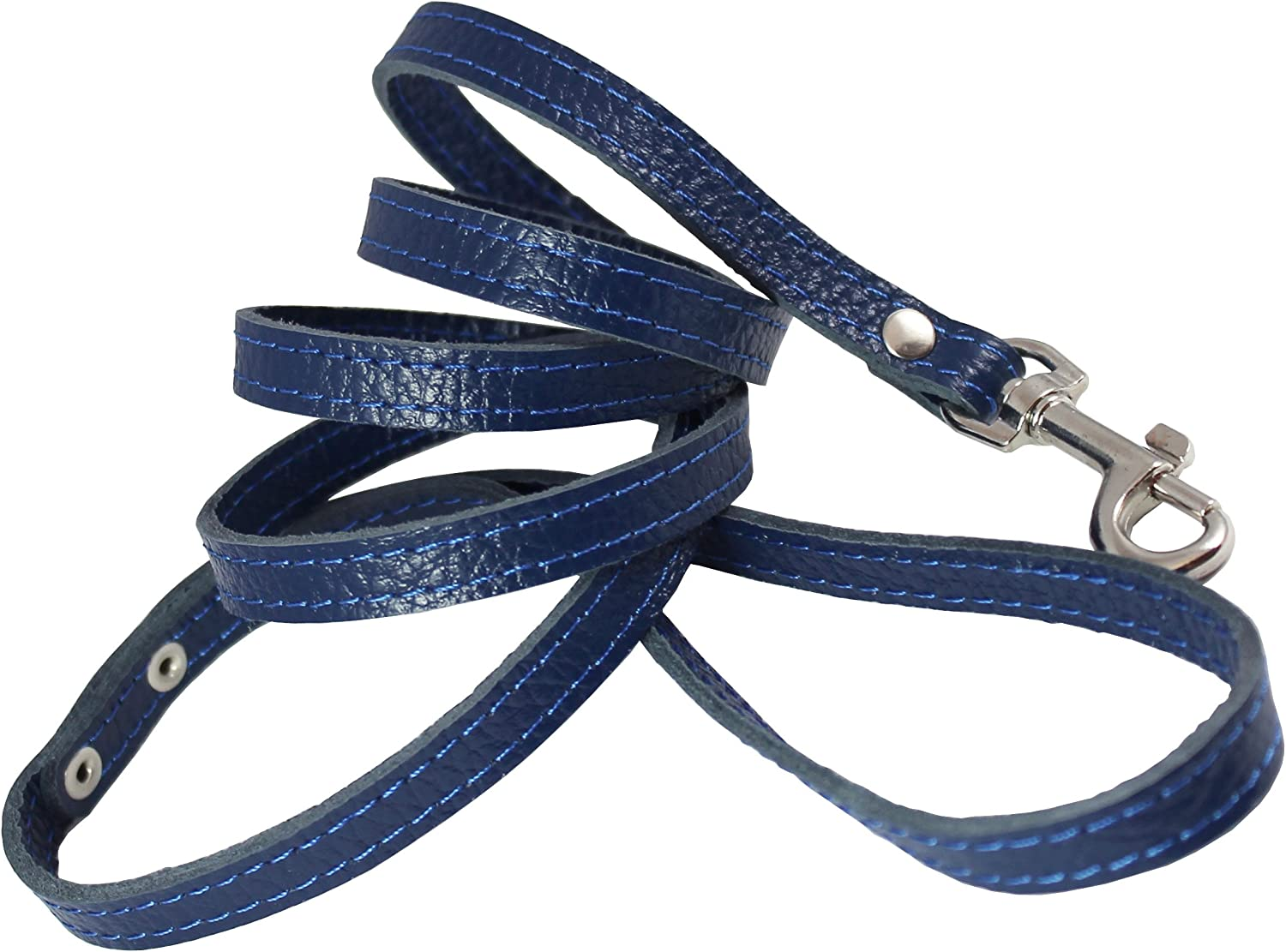 4foot Genuine Leather 1 2  Wide Dog Leash for Small Breeds (bluee)