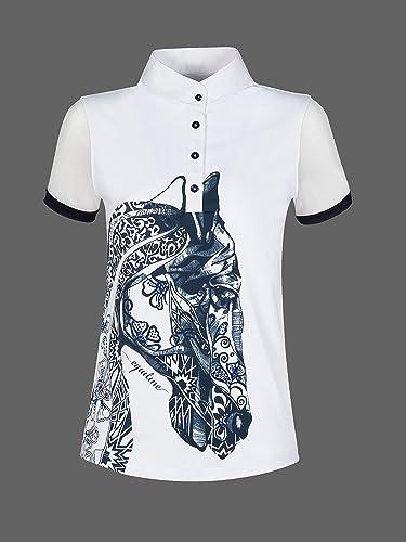 Equiline Polo Agate T-Shirt avec Strass et tête de Cheval