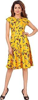 DESI VESI Women's Yellow Floral Knee Length Midi Western Dress