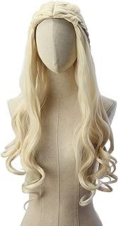Light wavy blonde Khaleesi Daenerys Targaryen Wig Inspired by Game of Thrones Costume Cosplay Synthetic Hair
