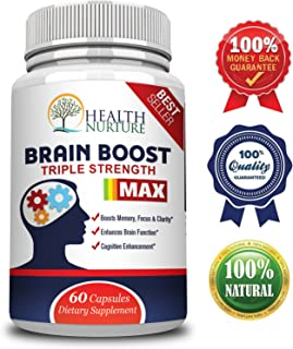Health Nurture Brain Boost Maximum Strength - Best Brain Supplement - Nootropics Brain Booster, Memory Support,Vitamins for Brain Health, Best Mind Supplements, Focus,Clarity & Cognitive Function