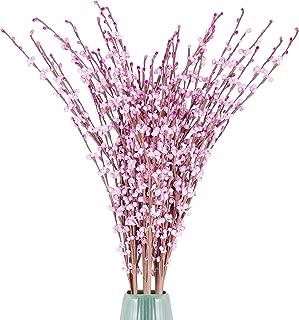 Flores Artificiales Jazmin Rosadas (Pack de 12)- Flores Artificiales Largas 75cm - Flores Jazmin de Invierno Falsas Ramas para Decoración Oficina, Hogar, Ramillete Boda, Fiesta, Restaurante o Jardín