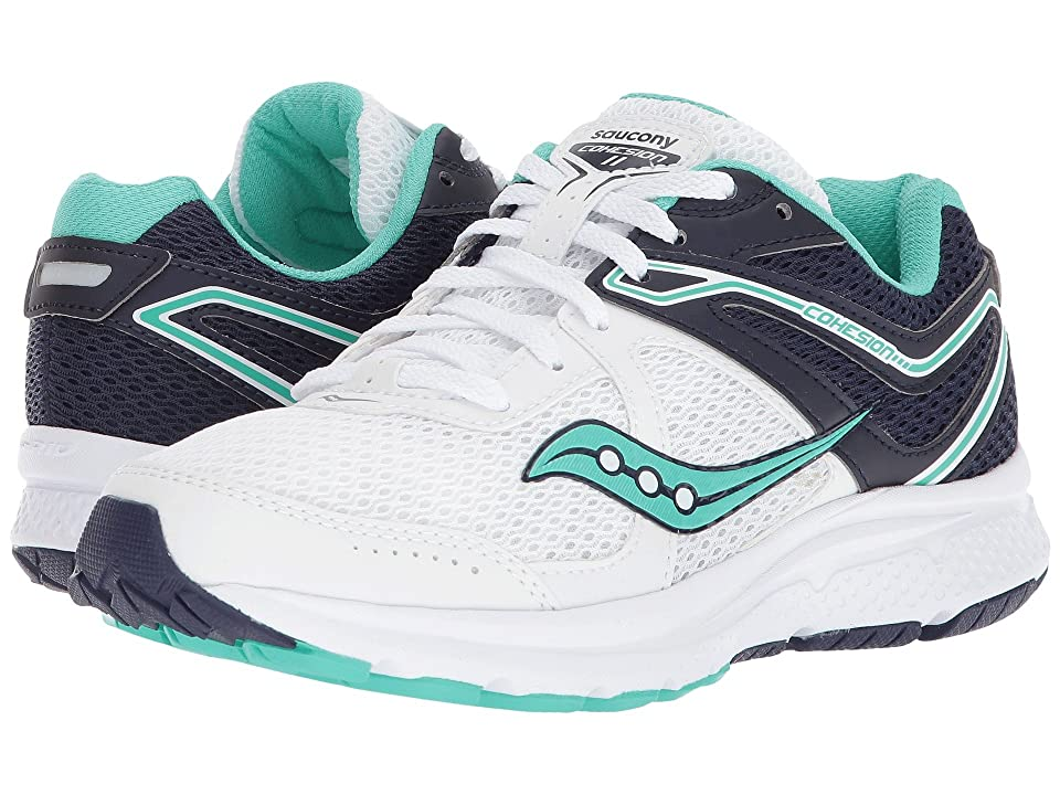 Saucony Cohesion 11 (White/Navy/Teal) Women