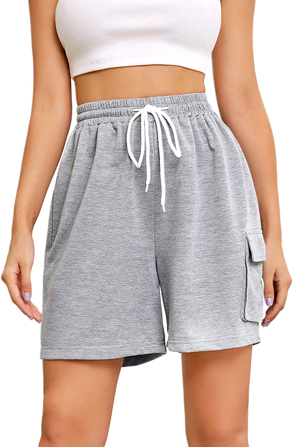 Floerns Women's Casual Elastic Waist Drawstring Lounge Shorts with Pockets