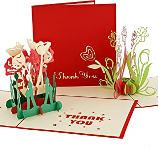 3D Pop Up Flower Thank You Cards with Envelopes (4.75 x 4.75 in, Set of 3)