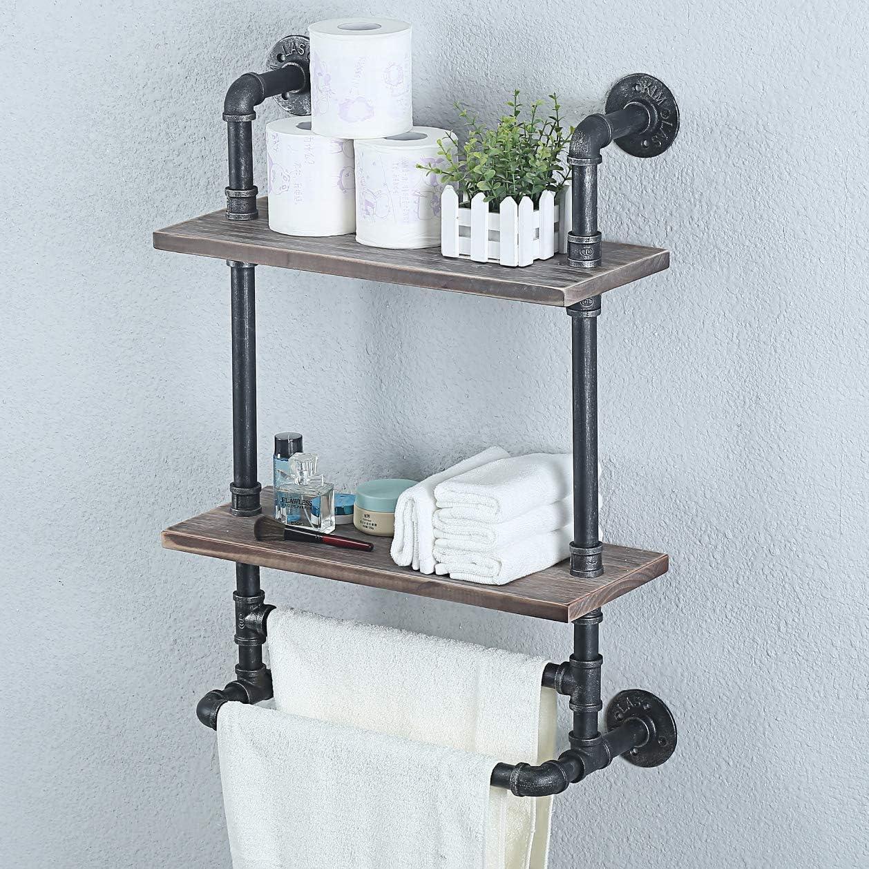 Wood Decor Pipe Oak /& Iron Towel Bar Kitchen Remodel Designer Bathroom Accessories Rustic Industrial