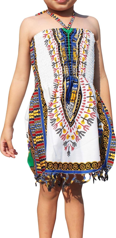 RaanPahMuang Girls Summer Elastic Halter Dashiki Dress with Tassels African Boubou, 2-4 Years, White Dark Blue