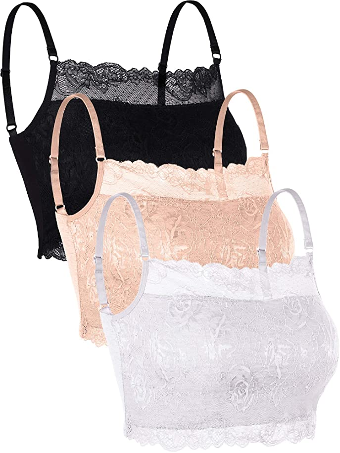 Zhanmai 3 Pieces Lace Camisole Lace Half Bralette Neck Lace Top Bandeau Bra Camisole with Adjustable Strap for Women Girls