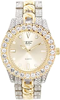 Mens 44mm Solitaire Bezel Two Tone Watch with Metal Band Strap (Resizable Links) - Quartz Movement
