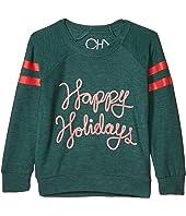 """Happy Holidays"" Cozy Knit Raglan Pullover (Toddler/Little Kids)"