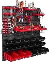 26 Stapelboxen, gereedschapshouder, wandrek, werkplaatsrek, gereedschapswand, 78 x 78 cm, gereedschapshouder, opslagsystee...
