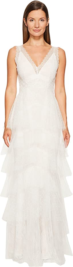 Marchesa Notte - Lace Gown w/ Tiered Point-D'esprit and Tulle Skirt