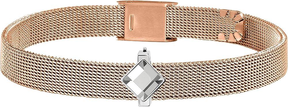 Morellato, bracciale da donna, collezione sensazioni, in acciaio, pvd oro rosa SAJT70