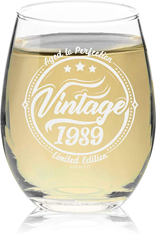 Veracco Vintage 1989 Aged To Perfection Stemless Wine Glass 30th Birthday Gift For Him Her Dirty Thirty Stemless Glass