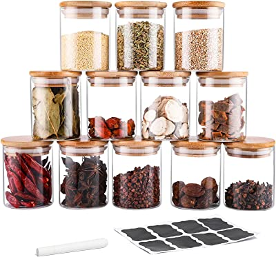 TIANGR 12Pc Airtight Glass Jars Set -【7oz】- Small Spice Storage Containers Set With Bamboo Lid - Kitchen Spice Canister - Food Storage Container For Tea Herbs and Spices - Include Labels&Chalk Marker