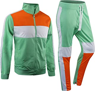 New Men Stripe Zip Pocket Track Pants Sweatsuit Men's Tracksuits