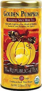The Republic of Tea Golden Pumpkin Herbal Tea, Seasonal Spice Herb Tea, 36 count