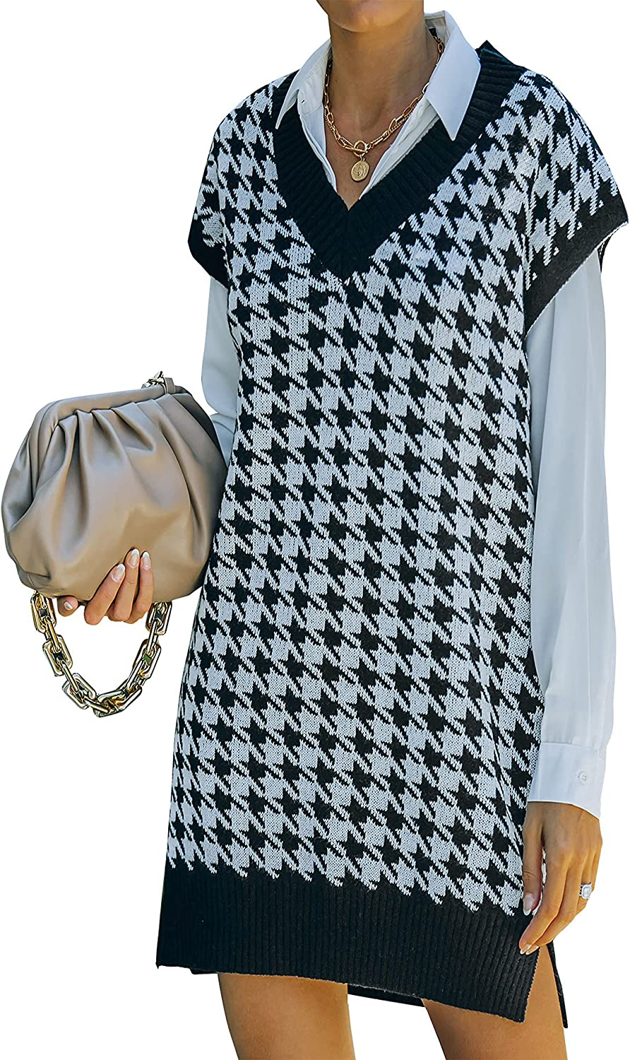 Ailoqing Women's Sweater Vest V Neck Sleeveless Houndstooth Long Knitwear Tunic