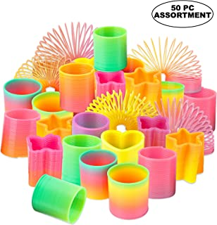 Rainbow Spring Toy Assortment - (Pack of 50) Mini Plastic Coil Spring Toy | Bright Colors and Shapes, Goody Bag Filler & Party Prizes for Kids by Bedwina