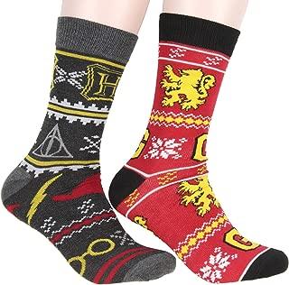 Harry Potter Adult Gryffindor Hogwarts Deathly Hallows Glasses Christmas Ugly Sweater Pattern 2 Pack Crew Socks For Men Women