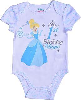 Disney Princess Baby Girl's Cinderella Short Sleeve First Birthday Bodysuit Onesie