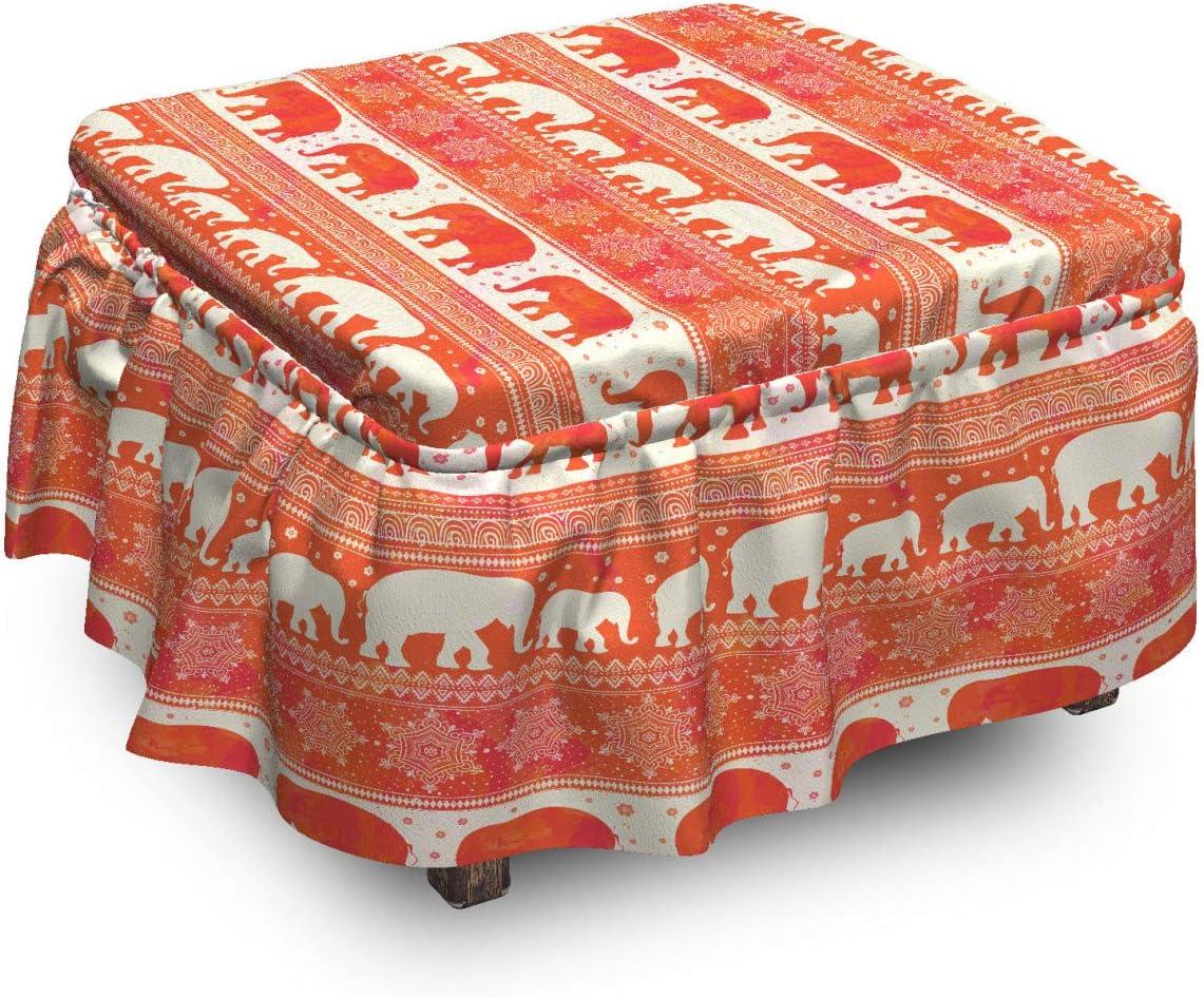 Ambesonne Ranking TOP13 Oriental Ottoman In stock Cover Elephants Slip Piece 2 Motifs