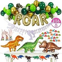 "116pc Dinosaur Party Supplies - Decorations Set – 3 Big 33"" Jurassic Park & Gold ROAR Foil Balloons, Cupcake Toppers & Tat..."