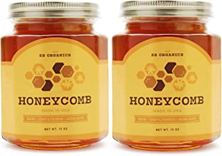 SB Organics Premium Honeycomb Jar - All Natural, Organic, Unfiltered, Raw Honeycomb - Made in USA from Wild Bees - Enjoy Delicious, Sweet, Pure Honey Directly from the Hive - 12 oz. Jar (2 Pack)