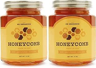 SB Organics Honeycomb Jars - 2 Pack 12 oz Jars of Premium California Sage Raw Unfiltered Non-GMO Kosher Honey Comb