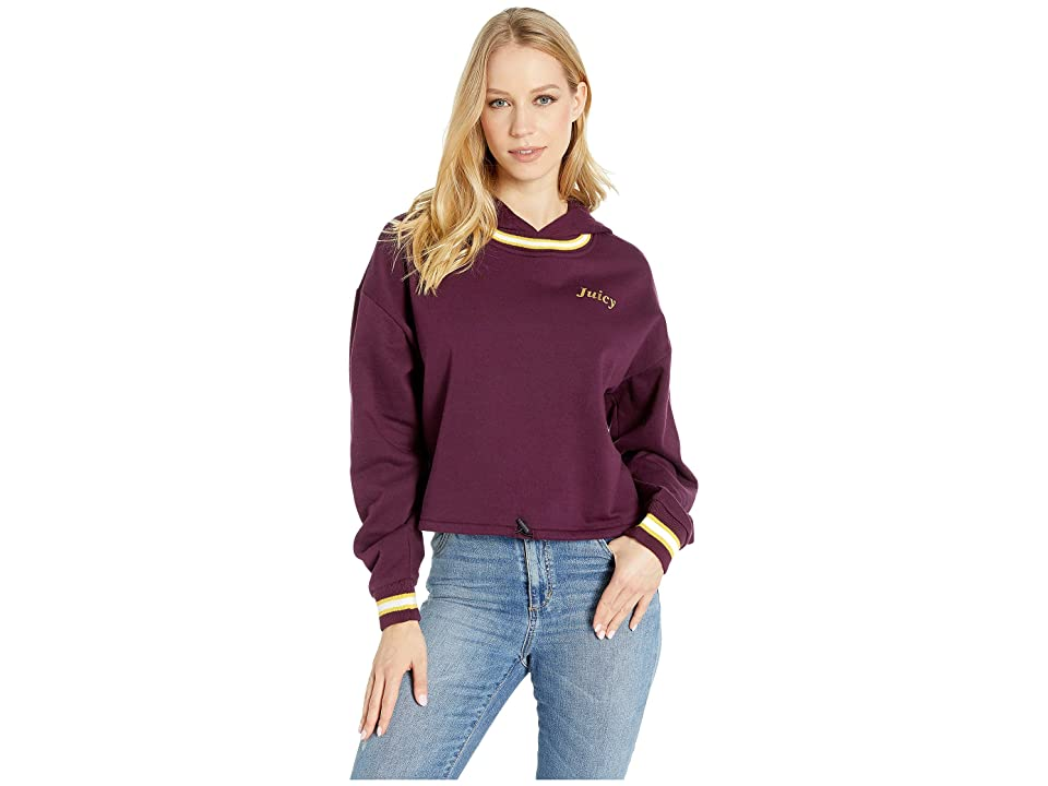 Juicy Couture Logo Detail Cinched Pullover with Hood (Currant) Women