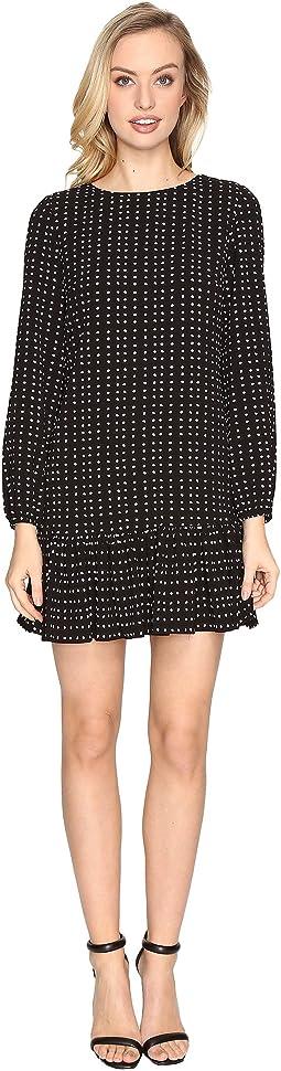 Flounced Hem Dot Print Crepe Dress